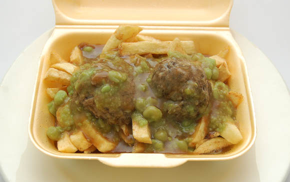 Faggots, peas, chips and gravy from John's Fish and Chip shop, Broadway, Cardiff