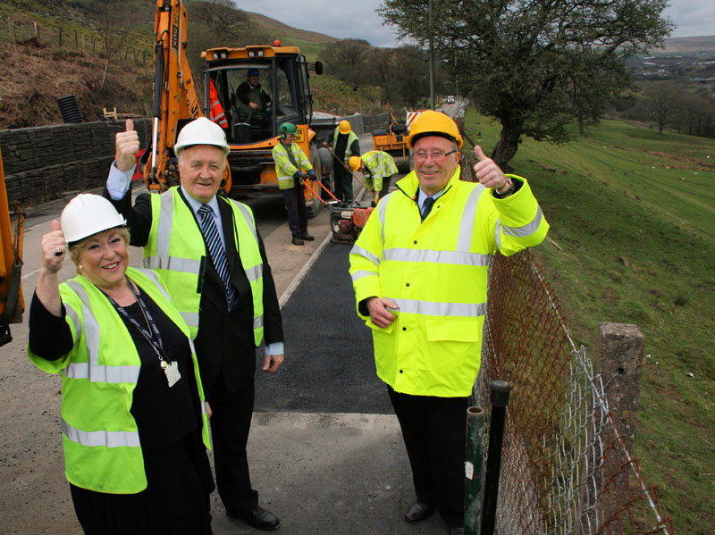 Cllr Gaynor Oliver, David Hardacre and Tom Williams visit the site yesterday to see the finishing touches being applied