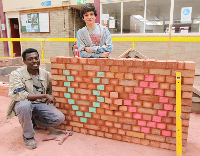 Brickwork students Amanuel Gebremeskel, 28 from Newport (L) and William Oliveira, 17 from Newport (R)