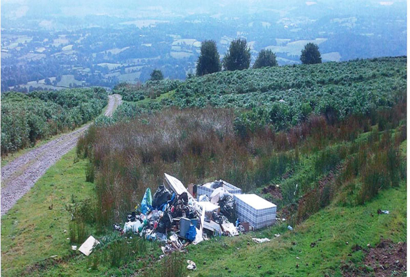 The waste dumped on the mountainside above Mamhilad