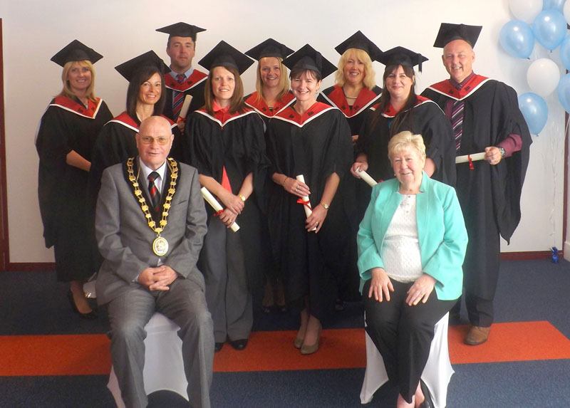 Cllr David Carter, Mayor of CCBC with Cllr. Christine Forehead with a group of ILM graduates