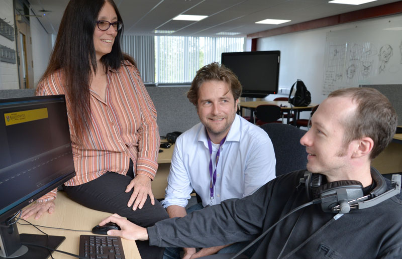 Mary Jacob, Tom Bartlett and Karl Drinkwater, Department of Psychology Librarian. Karl has been using the facilities at Aber Academy to develop a video for first year undergraduates and distance learners on how to make the best use of Aberystwyth University's electronic learning resources