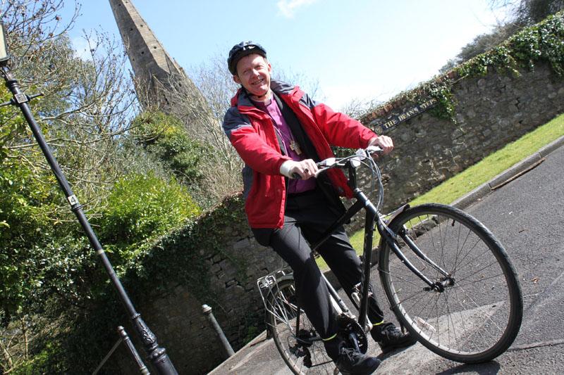 Keen cyclist Bishop David Wilbourne, the assistant bishop of Llandaff