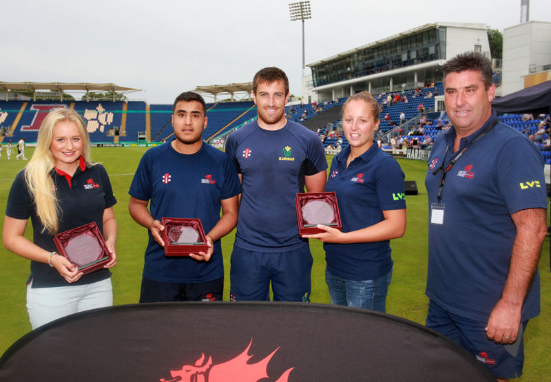 Ellie Hopkins, Mujahid Ilyas, Will Owen of Glamorgan CCC, Lauren Parfitt, and Cricket Wales performance manager John Derrick at the awards presentation at the SWALEC Stadium, Cardiff