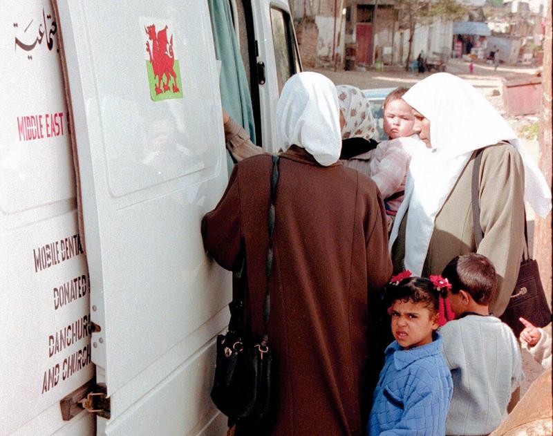 The mobile dental clinic in Gaza