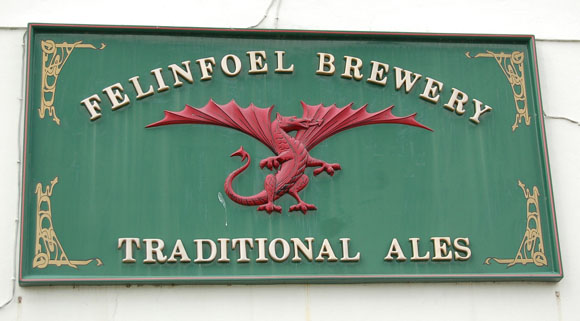 The welsh red dragon of the Felinfoel Brewery at the Boot and Shoe public house, Kidwelly, Carmarthenshire, South Wales. Photograph © Andy Prosser