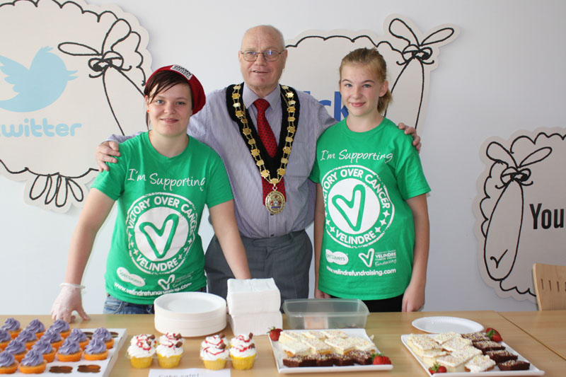 Lauren Prosser, Cllr David Carter, Mayor of Caerphilly County Borough and Emily Jones who is Fundraising Representative this year