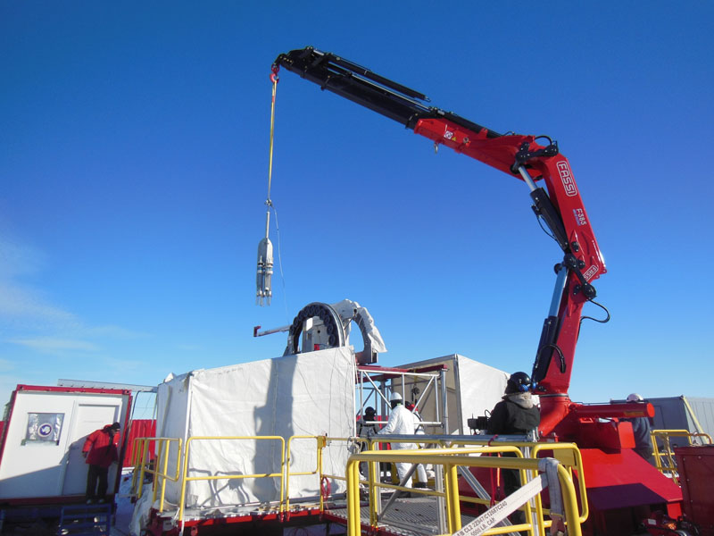 Reed Scherer multicore crane - Sediment cores being retrieved from Subglacial Lake Whillans