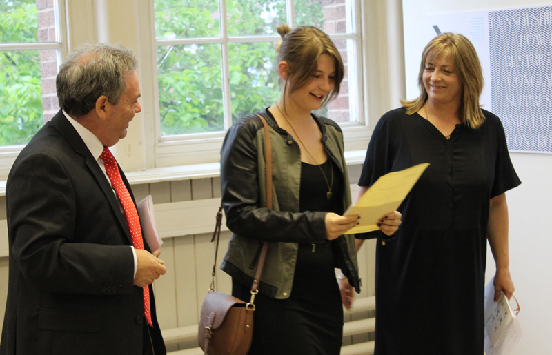(l to r) Wrexham MP Ian Lucas, student Kasia Pikula and Professor Estelle Thompson, head of media, arts and design at Glyndŵr University, at this year's Final Year Degree Show