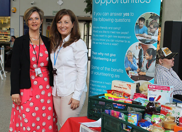 Jane Rowlands-Mellor, Lead Nurse for Patient Experience and Michelle Fowler, Volunteer Services Manager at Concourse, UHW at food bank collection point