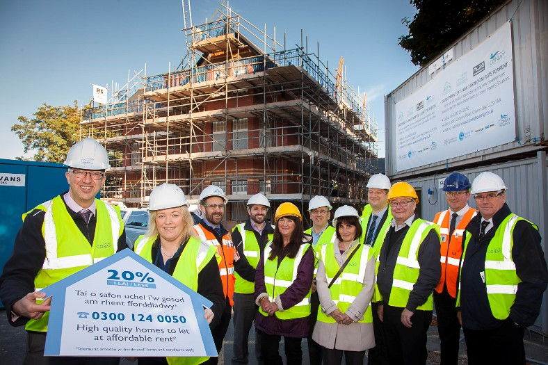 Cartrefi Conwy affordable housing scheme, Colwyn Bay.Pictured are Gwynne Jones and Lesley Cullen Cartrefi Conwy, Steven Walker GP project Manager, David Lowe Conwy Council, Cclr Mary Doyle, Claire Davies Conwy Coucil, Cllr Trevor Stott, John Humphreys Welsh Government, David Kelsall and Adam Spedding, Site Manager