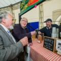 Hamper Food Festival at Llangollen Pavilion. Alwyn Thomas and Glyn Thomas try Rosie's Cider from Steve Hughes.