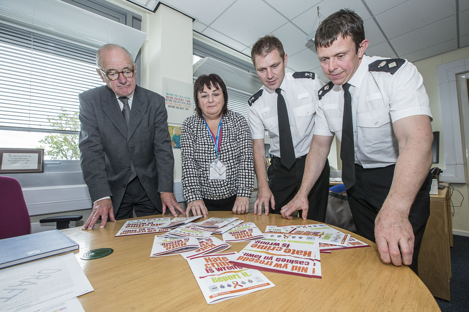Hate Crime. Police and Crime Commissioner Winston Roddick with Mandy Burrows, PC Rob Newton-Miller and Chief Superintendant Jeremy Vaughan