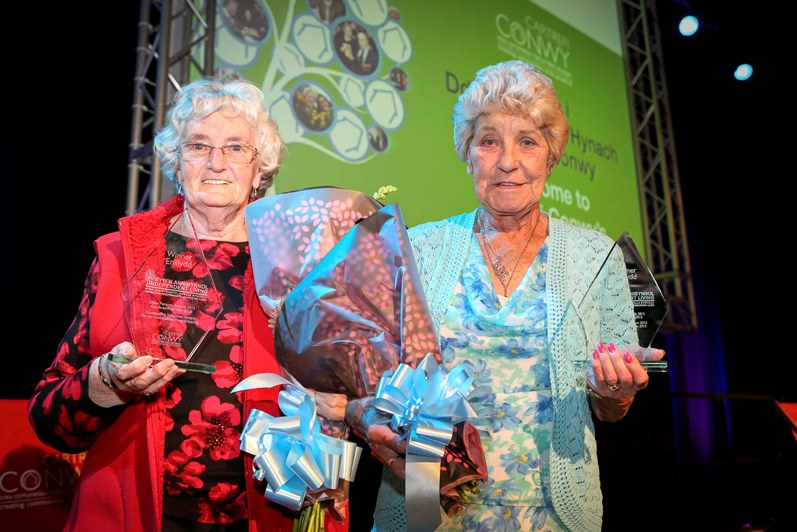Cartrefi Conwy's Older Persons Day at Venue Cymru, Llanduddno. Pictured: Renee Williams wins an award
