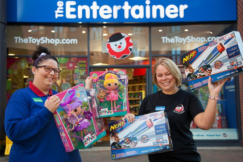 EAGLES MEADOW, THE ENTERTAINER BEST SELLING TOYS FOR CHRISTMAS. Pictured are Hannah Richards senior sales assistant and Karen Dutton Store manager.