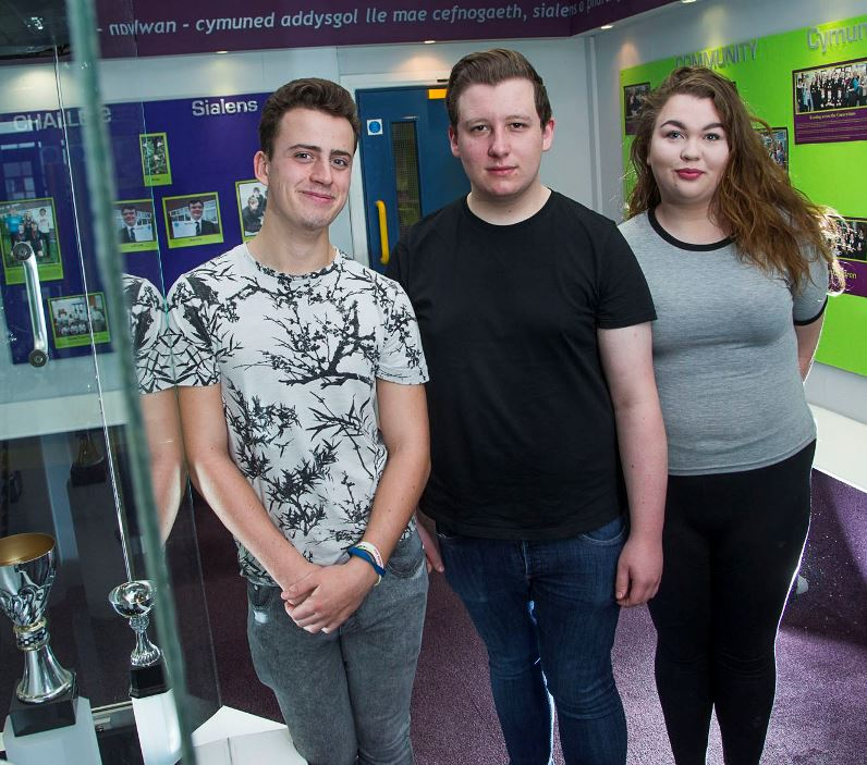 Emrys ap Iwan, Abergele. Head boy and girl appointments. Naomi Winterbottom, 17 with Iwan Coghlan, 18, left and Harry Hansen, 17.