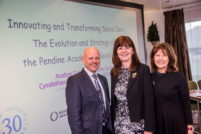 Pendine Academy of Social Care. Mario and Gill Kreft with Lesley Griffths AM at the launch in Wrexham.
