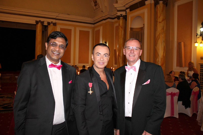 L-R Sumit Goyal, Consultant Surgeon at the Breast Centre with Patron of the Breast Centre, Julien MacDonald with Peter Welsh, Hospital Manager, University Hospital Llandough