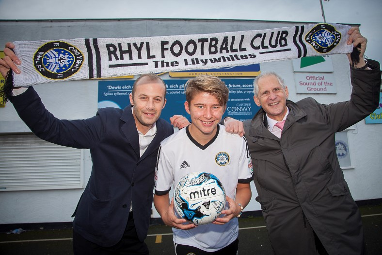 CARTREFI CONWY SPONSOR RHYL FOOTBALL CLUB.... Pictured is Player Corey Taylor with   MD Mike Jones and Chief Executive of Cartrefi Conwy Andrew Bowden.