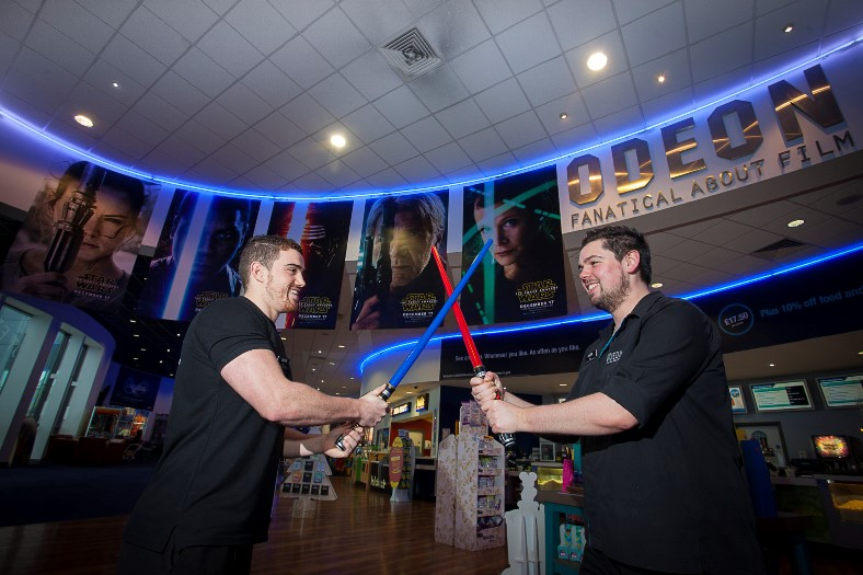 EAGES MEADOW, STAR WARS AT THE ODEON. Pictured are DT Owen and Dave Roberts of the Odeon Wrexham.