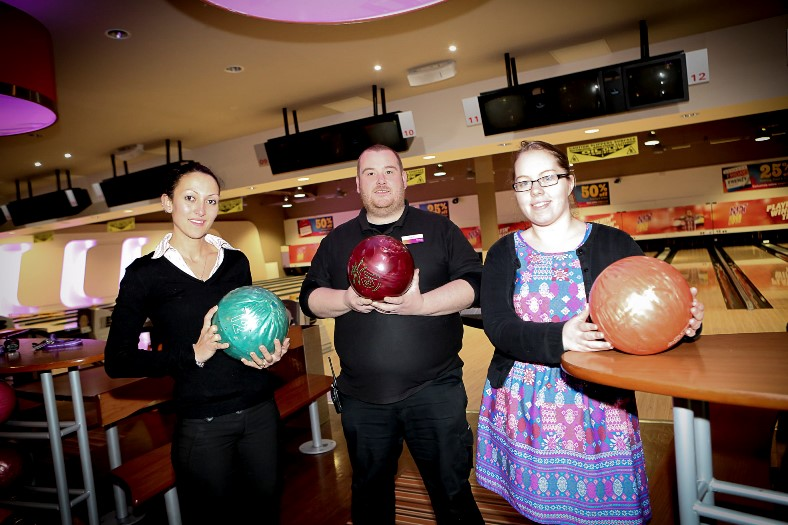 Eagles Meadow. TenPin have announced their new charity of the year to be Hope House. Pictured: Staff, Eleni Morandi, Shane Jones and Cath Leask