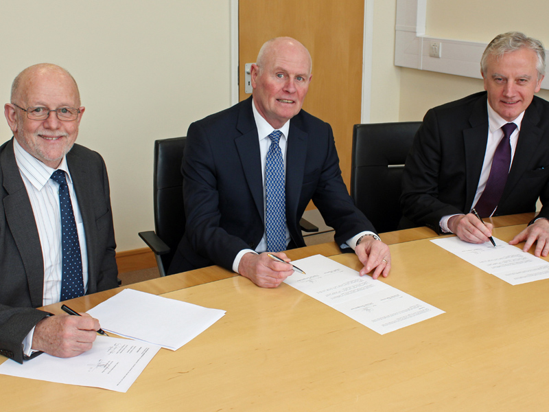 Professor Upton (left) is pictured with Bangor University Vice-Chancellor, Professor John G Hughes (right), and Grŵp Llandrillo Menai CEO Glyn Jones