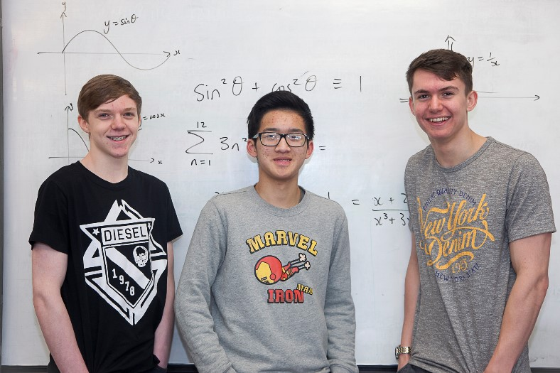 Ysgol Emrys ap Iwan, Abergele, Maths challenge . Pictured are pupils Rowan Boardman, Jack Huang and Simon Rogers who all took part in the Maths challenge.