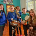 03/02/16 Caernarfon  Year 5 Pupils at Ysgol Talysarn and Ysgol Gynradd, with the help of music composer, Dr Mared Emlyn are creating a musical piece for the Bangor Music Festival, telling the story of the trals and tribulations facing refugees. They will be performing in Bangor on the 4th of March.  Elan Williams (10), Osian Williams (9), Grisial Morus (10), Dafydd Jones (9) and Dr Mared Emlyn.