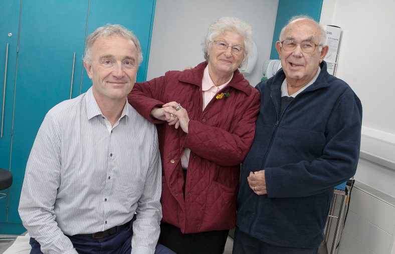 Dr Jo Sowden retires from Spire Yale hospital after 20 years service, pictured with this first ever patients Jack and Angela Ferber who visited him on his last day at work
