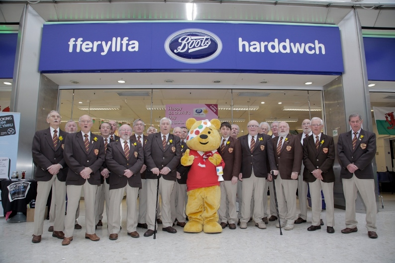 01.03.16 Boots Swansea, Belmont Male Singers Choir raise money for Children in Need, 120th anniversary of first Boots store in Wales which was in Swansea.