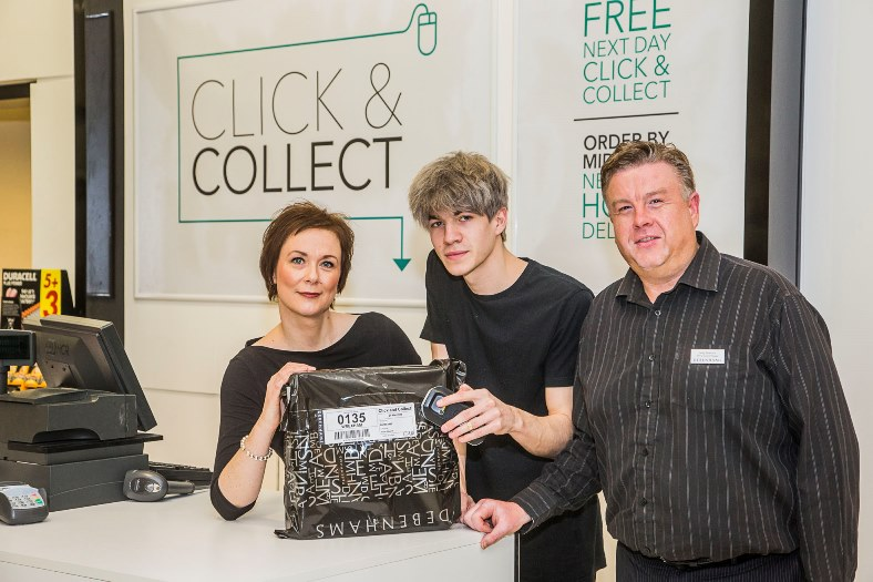 Staff at Debenhams at Eagles Meadow, Wrexham celebrate the succesful Click and Collect service. From left, Shirley Smith, Callum Andrews and Andy Smethurst.