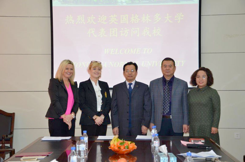 Suzanne Riley, External Relations Manager, and Head of Marketing, Recruitment and Admissions, Julie Cowley from Wrexham Glyndŵr University, with the President of Tonghua University, Kang Xuewei, and colleagues