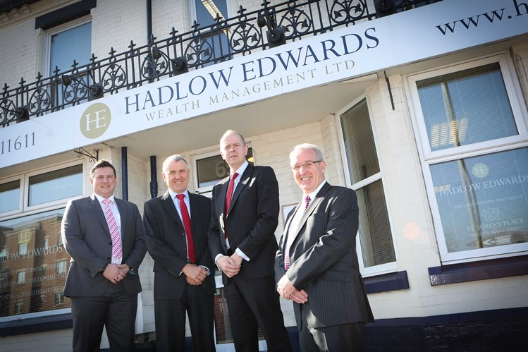 Hadlow Edwards in Wrexham. Pictured: James Parry, Director of Business's, Directors Medwyn Edwards and Warren Hadlow and Howard Ellet from Shropshire firm