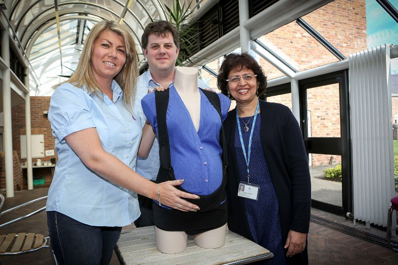 Wrexham Maelor Medical Institute. Ruth and Dafydd Roberts have developed a pelvic girdle that helps women suffering pelvic pain during pregnancy and are being supported by Consultant obstetrician Kalpana Upadhyay