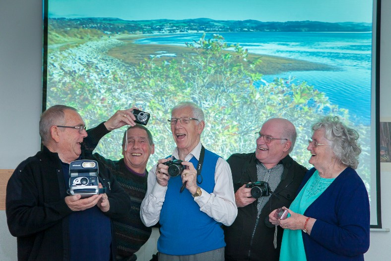 Cartrefi Conwy, the Focus photographic project has been shortlisted for an Arts and Business Cymru Award. Pictured are Eddie Bradley, Colin Matthews, Phil Batty Snr, John Roberts and Renee Williams.