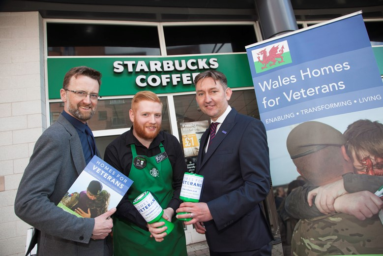 EAGLES MEADOW .... Starbucks have named Homes for Veterans as their local charity of the year and are planning several fundraising events to raise cash for the charity in the coming months as well as having collection tins at the till points Pictured are Paul Mayers , Robb Stead and Andrew Green.