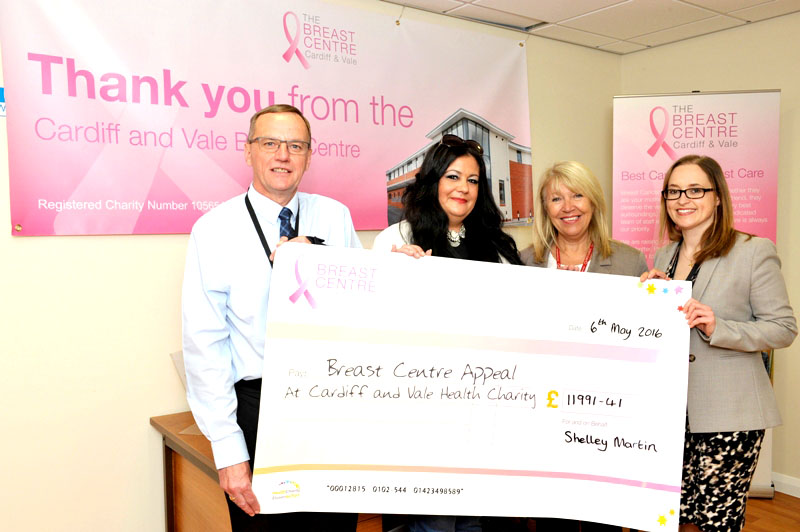 Peter Welsh, Hospital General Manager at University Hospital Llandough with Shelley Martin, Marks and Spencer Culverhouse Cross, Maria Batlle, Chair of Cardiff and Vale University Health Board and Donna Egbeare, Consultant Surgeon at the Breast Centre, Llandough