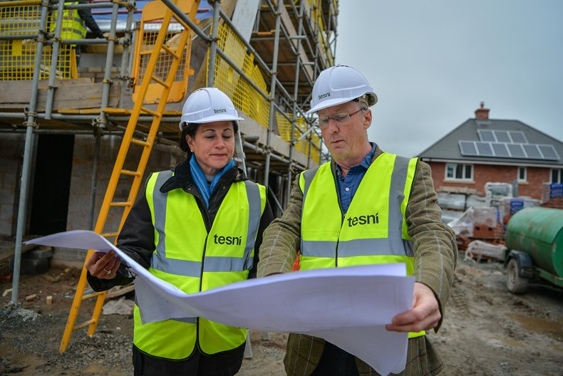 16/04/16 Oswestry. Husband and Wife team Paula and Gerry Jewson who own Tesni Homes (Gerry is chairman) are building sustainable homes in Oswestry. Some of the eco-features on the properties include: solar panels, sun pipes, breathable cladding and a heat exchange ventilation system.