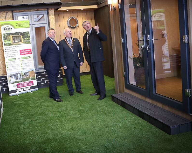 Rubicon, Shotton. Owner John Llyon has visitors from Flintshire County Council. Pictured: Cllr Derek Butler, Chair for FCC Ray Hughes and John Llyons. Ray Hughes and John Llyons.