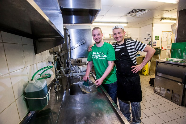 Pizza Express at Eagles Meadow, Wrexham are raising funds for MacMillan and pot washer Michael Evans is walking up the big roller-coaster in Blackpool in aid of the charity. Michael is pictured with chef Michal Ciesla, right.