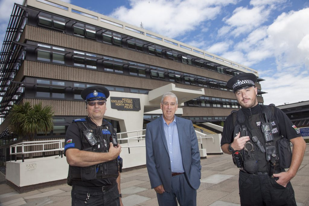 BODY WORN VIDEO...PCC Arfon Jones with PCSO Chris Perkins  and PC Martin Taylor at North Wales Police Headquarters.
