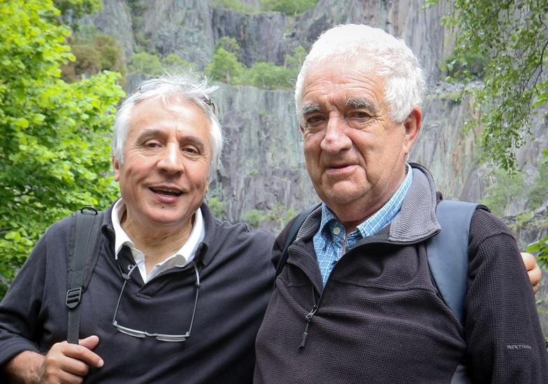 RM11016a Llanberis Walk  in Llanberis to celebrate the birthday on Ken Jone's kidney which he had transplanted 20 years ago.  Ken Jones (right) with Mr Mahdi Jubani from Bangor's Ysbyty Gwynedd