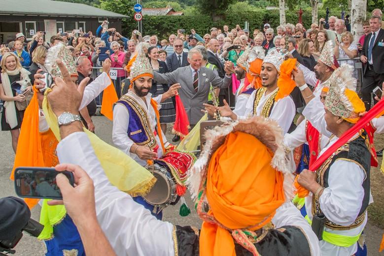 Prince Charles visit to Llangollen International Musical Eisteddfod dances with Sheerer Punjabi Dancers
