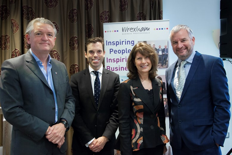 WREXHAM BUSINESS PROFESSIONALS . Pictured are Chris Nott, Chair of Welsh Government financial  and professional service, Ken Skates Welsh Government Cabinet Secretary for economy and infrastructure, Gill Atkinson committee member WBP and Paul Barlow Avox COO and DTCC Wrexham site Lead.