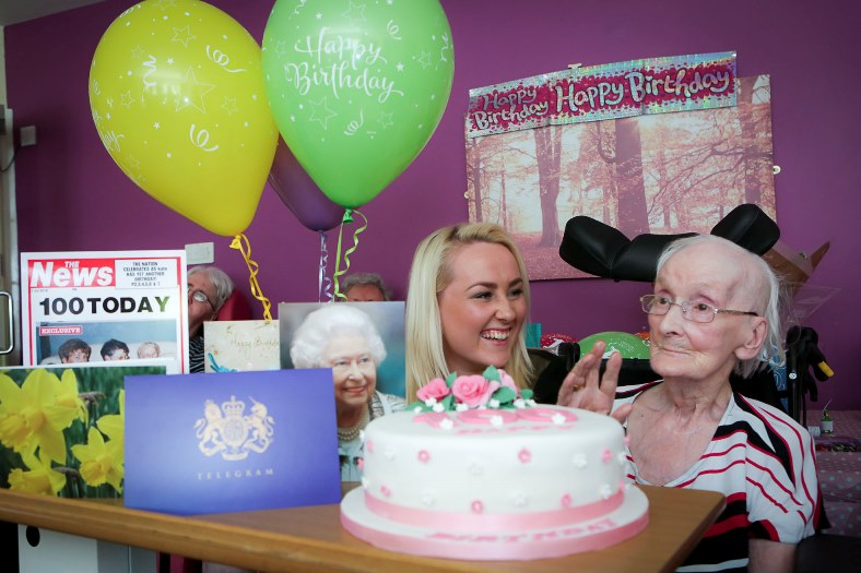 Pendine Park, Wrexham. Kate Jasper is celebrating her 100th birthday at Bryn Bell. Pictured: Kate with her Great Grandaughter Charlotte Richards, aged 17.