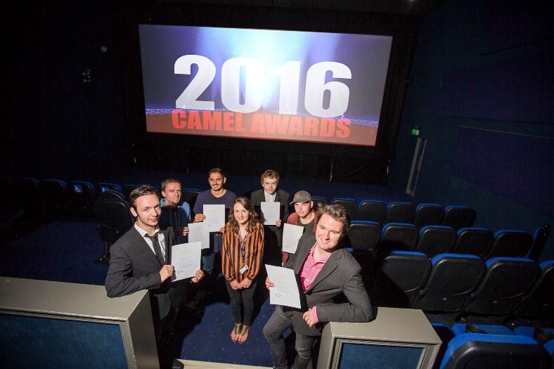 Media students with their certificates, Adam Williams, Lewis Edwards, Owen Jones, Sam Rowlands, Harry Bharat (correct), Pete Rogers and tutor Laura Kearsley.