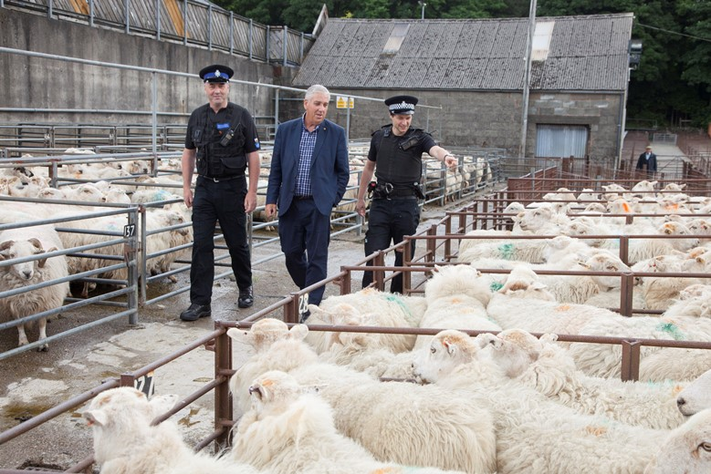Arfon Jones the police and crime commissioner for the North Wales Police visit to Dolgellau Farmers Mart to meet part of the Rural crime team. Pictured are Rhys Evans, Arfon Jones the police and crime commissioner and  Dewi Evans .