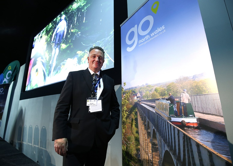 Go North Wales Year of Adventure Conference at the IFB 2016 hosted in Liverpool. Jim Jones Managing Director North Wales Tourism.  Images by Gareth Jones