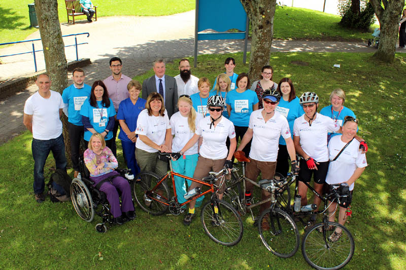 The team of riders and staff from UHW