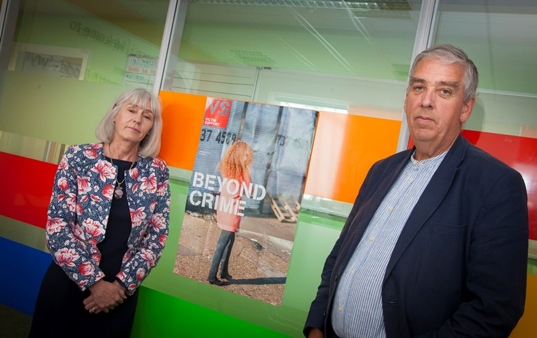 PCC ARFON JONES VISIT TO THE VICTIM HELP CENTRE, ST. ASAPH. Pictured is Julie Elliott, Manager of the Victim support centre with  Arfon Jones Police and Crime commissioner for North Wales Police .